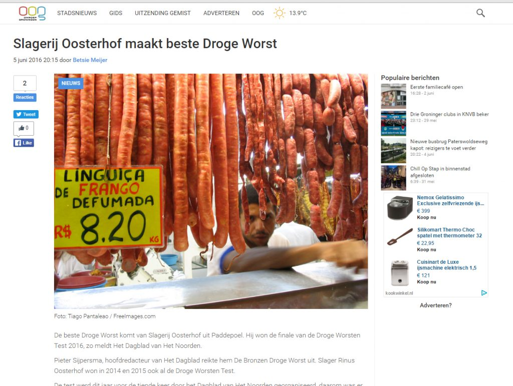Slagerij Oosterhof wint droge worst en DVHN de stockbeeld -wedstrijd